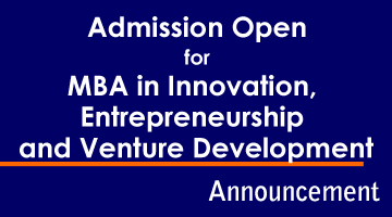 Admission for MBA in Innovation, Entrepreneurship and Venture Development